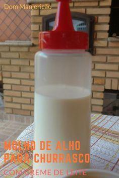 molho de alho preparado com creme de leite, para churrasco e sanduíches