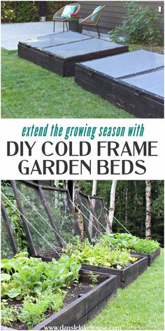 Looking to get into cold frame gardening or need cold frame ideas? Learn how to make cold frames with this DIY cold frame garden bed tutorial. Follow step by step and make your own DIY cold frame garden bed with lids. Plus see why I charred the wood using shou sugi ban. You can adapt this tutorial to also make simple raised bed gardens. These large DIY cold frame gardens yield a lot of produce and extend the growing season. Vegetable Garden For Beginners, Gardening For Beginners, Gardening Tips, Cold Frame Gardening, Organic Gardening, Diy Garden Bed, Garden Boxes, Raised Bed, Raised Garden Beds