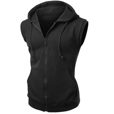 Xpril men's high quality cotton Zip up hoodie Vest ($19) ❤ liked on Polyvore featuring mens, men's clothing and men's hoodies