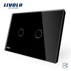 LIVOLO Wall Switch, 2gang 2way, VL-C902S-12 ,AU/US Standard Touch  Light Switch with LED indicator, Black Crystal Glass Panel