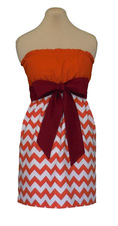 www.gameondresses.com Game Day Chevron! Rock your school colors on game day, for rush or around campus with the Orange and Maroon Chevron dress, just $39.99. Go Virginia Tech Hokies!