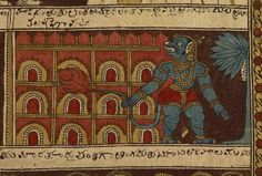 The burning of Lanka Cotton cloth, painted in brown, beige, black, red and blue on a natural ground, depicting a Hindu story with human figures involved in different actions along each of eight strips and in a rectangular centre panel.