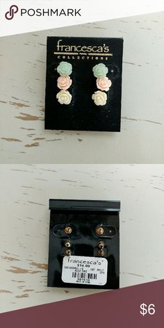 NWT Francesca's Rose Trio Studs Brand new with tags including three sets of rose studs in mint, blush, and pastel yellow. Francesca's Collections Jewelry Earrings