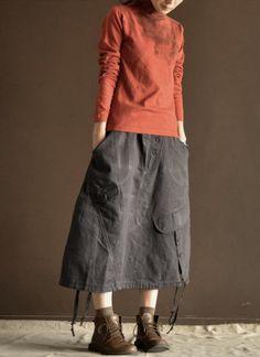 Grey  cotton  skirt  linen skirt