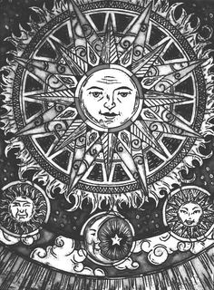 Sun moon and stars Psychedelic Art, Inspiration Art, Art Inspo, Tattoo Inspiration, Art Nouveau, Art Deco, Psy Art, Sun Moon Stars, Alphonse Mucha