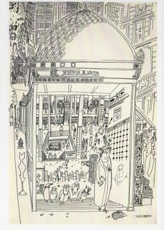 "Saul Steinberg subway drawing @hutchowen: ""Street level, 3 levels of the subway, 5 stories of the skyline all in one amazing drawing "" Speaking of Steinberg and the subway, here's another favorite: Filed under: Saul Steinberg"
