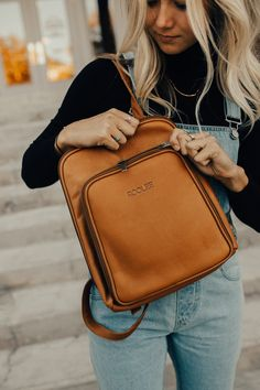 Natural Leather Backpack | ROOLEE I've been searching for a new bag. I haven't been able to transition from a backpack to a side bag and this is the perfect in-between and not to mention beautiful! #ROOLEEfave