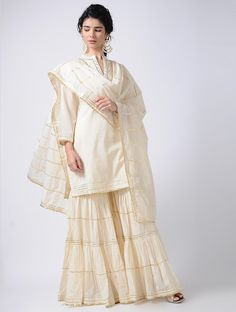 Buy Ivory Gota Cotton Kurta with Sharara and Dupatta (Set of Online Pakistani Formal Dresses, Eid Dresses, Indian Dresses, Indian Outfits, Fashion Dresses, Nikkah Dress, Sharara Designs, Kurta Designs Women, Kurti Designs Party Wear