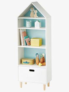 Rangement maison 5 cases  Une étagère tout, sauf ordinaire, qui permet d'exposer livres ou petits objets déco ! Elle dispose d' ungrand coffre de rangement à la base, pour ranger et cacher les jouets ! Son fond réversible orange ou bleu permet de changer de déco en un clin d'oeil.DIMENSIONSHauteur : 142 cm, largeur : 50 cm, profondeur: 30 cm.
