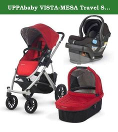 UPPAbaby VISTA-MESA Travel System - Denny Black. Whether zipping through the urban jungle or breezing down a winding country way, the VISTA takes your child on the road in style. Part sports car, part super-utility vehicle, the VISTA is fully equipped to master any terrain.This kit includes the UPPAbaby VISTA stroller with bassinet and the UPPAbaby MESA Car Seat.