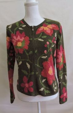 Talbots Women Green Floral Zip Up Cardigan Sweater Size S #Talbots #Sweater