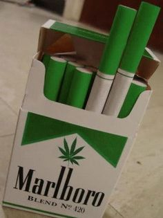 When marijuana becomes legal #marlboro #420's this made me giggle ... I don't smoke but I like the bright green packaging.