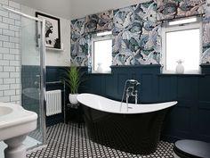 After Bathroom Makeover Tropical Wallpaper Roll Top Bath Barn Wood Bathroom, Rustic Bathroom Vanities, Small Bathroom, Bathroom Ideas, Brick Bathroom, French Bathroom, Tropical Bathroom, Family Bathroom, Chic Bathrooms