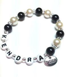 Personalized beaded girls name Bracelet sister by Sellingitforyou