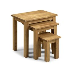 Julian Bowen Coxmoor American White Oak Wooden Nest Of Tables (flat Packed) White Oak Dining Table, Home Furniture, Furniture Design, Large Table, Table Dimensions, Nesting Tables, Wood Colors, Solid Oak, Contemporary Furniture