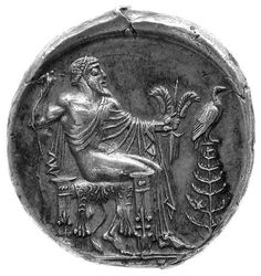 Tedrachm from Etna.ΑΙΤΝΑΙΟΝ ancient Greek coin ,silver AR, unicum, in Bruxelles. Head of bearded Silenus in one side and Zeus Aitnaios seated. In the field an eagle on a pine-tree the other side. Ancient Greek Art, Ancient Greece, Ancient History, Ancient Mysteries, Ancient Artifacts, Classical Antiquity, Coin Art, Gold And Silver Coins, Rare Coins
