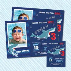 Digital Printable Shark Birthday Invitation. Boy by kodomoartshop