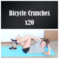 Bicycle crunches: touch elbow to opposite knee! (Credit: Tess Christine)