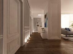 Eleganckie wnętrze luksusowego apartamentu na Mokotowie. W całym mieszkaniu dodaliśmy dekoracje w postaci sztukaterii na sufitach i ścianach, aby podkreślić klasyczny styl wnętrza.