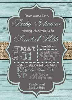 Rustic and Simple Blue Wooden Plank and Burlap DIY PRINTABLE Baby Boy Shower Invitation This listing includes an emailed 5x7 Invitation Design
