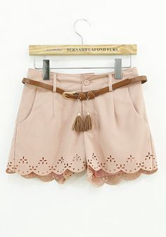 Laser Cut Scalloped Shorts. So cute without the belt.