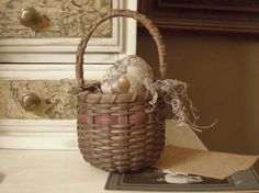 Vintage Country Farmhouse Wicker Basket with by AloofNewfWhimsy