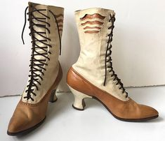 Glorious Women's Victorian Two-Tone Lace Up Boots with