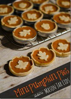 Mini Pumpkin Pie Recipe Baked in Mason Jar Lids