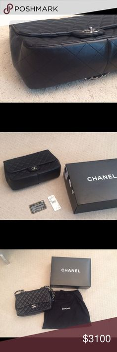 Chanel Jumbo quilted purse Black lamb skin Chanel Jumbo purse- single flap CHANEL Bags Shoulder Bags