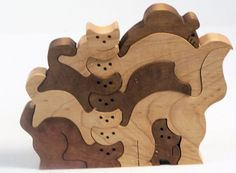 wooden puzzle scroll saw cut cat and mouse maple by BasketsByDebi, $12.00