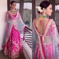 Sana Khan in a Pink embroidered lehenga Indian Wedding Outfits, Bridal Outfits, Indian Outfits, Blouse Back Neck Designs, Blouse Designs, Lehenga Designs, Indian Attire, Indian Wear, Indian Style