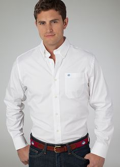 Stretch Pinpoint Sport Shirt in White