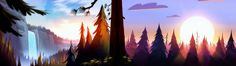 This HD wallpaper is about artwork waterfall forest gravity falls, sky, sunset, cloud - sky, Original wallpaper dimensions is file size is 3840x1080 Wallpaper, Dual Screen Wallpaper, Dual Monitor Wallpaper, Dual Monitor Backgrounds, Pink Flowering Trees, Gavity Falls, Gravity Falls Art, Tree Artwork, Autumn Art