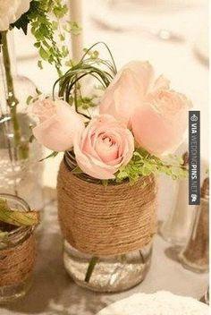 So cool! - Burlap Mason Jar ~ simple, classic and beautiful | CHECK OUT MORE IDEAS AT WEDDINGPINS.NET | #weddings #travel #travelthemes #weddingplanning #coolideas #events #forweddings #weddingplaces #romance #beauty #planners #weddingdestinations #travelthemedweddings #romanticplaces #eventplanners #weddingdress #weddingcake #brides #grooms #weddinginvitations