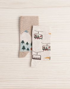 131 Pack of landscape pattern socks - Socks - Accessories - Spain Funky Socks, Crazy Socks, Cute Socks, Foot Warmers, Patterned Socks, Kids Socks, Happy Socks, Sock Shoes, Mittens