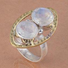 925 SOLID STERLING SILVER FANCY RAINBOW MOONSTONE RING 6.43g DJR2742 #Handmade #Ring