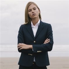A seasonal navy Alicia jacket from our Spring Summer 2018 Collection. The jacket is made in luxurious pure new wool and features gold buttons. Complete the look with a Darcy blouse and Fahan trouser. Spring Summer 2018, Cashmere, Jackets For Women, Women Wear, Trousers, Buttons, Pure Products, Blazer, Wool