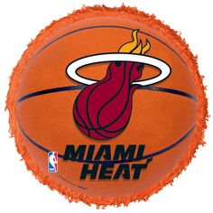 Champion your team with a Miami Heat Balloon! Shaped like a basketball with the official Heat logo, this NBA balloon is perfect for any Miami fan. Miami Heat Basketball, Basketball Party, Basketball Cakes, Basketball Scoreboard, Mylar Balloons, Latex Balloons, Miami Heat Logo, Party City Balloons