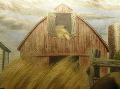 """Detail from Oswego, Kansas' post office mural """"Kansas Farm Life"""" by Robert E. Larter. TE photo, April 2009"""