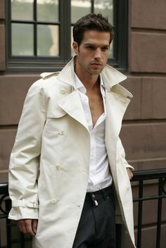 Images of Mens White Trench Coat - Reikian