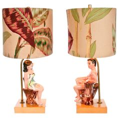 A lovely pair of lamps but from this view the guy looks naked lol!