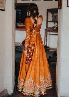 Orange Gold Embroidered Anarkali with Latkans - Pakistani dresses Shadi Dresses, Pakistani Dresses Casual, Pakistani Wedding Outfits, Pakistani Dress Design, Bridal Outfits, Pakistani Clothing, Wedding Hijab, Punjabi Wedding, Pakistani Bridal