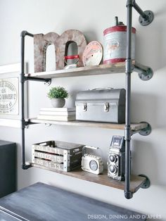 Rustic Modern Piping Shelves