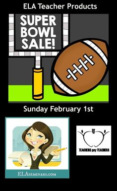 SUPER BOWL SALE: All digital products are on sale for just one day  - so if you're an ELA teacher and you want to do a little shopping before the game, stop on by! https://www.teacherspayteachers.com/Store/Janice-Malone
