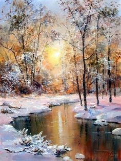 New Winter Landscape Painting Lights Ideas Watercolor Landscape, Landscape Art, Landscape Paintings, Watercolor Art, Watercolor Sunset, Sunset Landscape, Mountain Landscape, Winter Painting, Winter Art