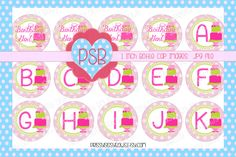 Hot Pink and Bright Green Alphabet Birthday 1 Inch Bottle Cap Images - Digital Download - pinned by pin4etsy.com
