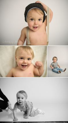 One year Old little boy in studio birthday session Rockford IL Photographer Kimberly Neyer