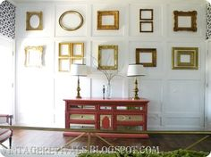 Wall of frames. Can totally find old frames/mirrors for wall art!