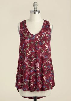 Infinite Options Tank Top in Maroon Meadow. Every fashionista needs pieces in their wardrobe that can be endlessly styled, and this ultra-soft tank promises unlimited options. #red #modcloth
