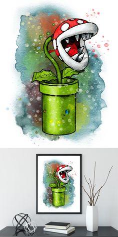 Mario Art Print Nintendo Wall Art Piranha Plant Watercolor Painting Giclee Print… – Best Garden Plants And Planting